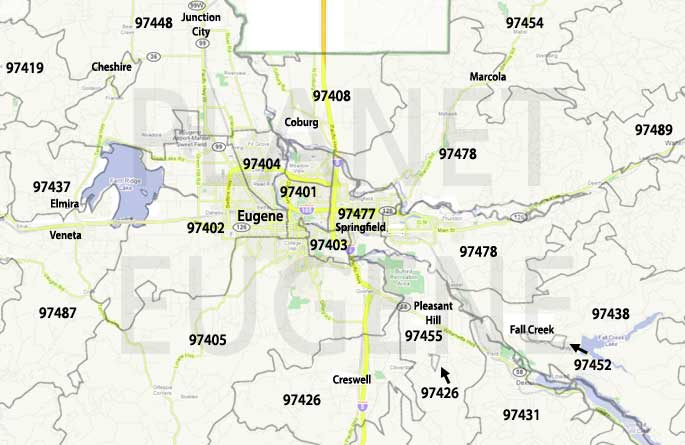 Eugene Zip Code Map Eugene Oregon Zip Codes Map